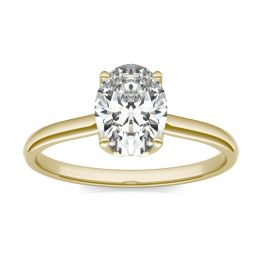 1 1/2 CTW Oval Caydia Lab Grown Diamond Signature Solitaire Engagement Ring 18K Yellow Gold, SIZE 7.0 Stone Color E