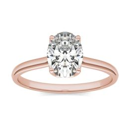 1 1/2 CTW Oval Caydia Lab Grown Diamond Signature Solitaire Engagement Ring 18K Rose Gold, SIZE 7.0 Stone Color E