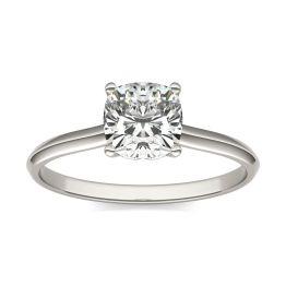 1 CTW Cushion Caydia Lab Grown Diamond Signature Solitaire Engagement Ring Platinum, SIZE 7.0 Stone Color E