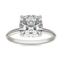 2 1/2 CTW Cushion Caydia Lab Grown Diamond Signature Solitaire Engagement Ring Platinum, SIZE 7.0 Stone Color E