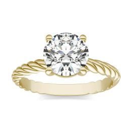 1 1/2 CTW Round Caydia Lab Grown Diamond Twist Solitaire Engagement Ring 14K Yellow Gold, SIZE 7.0 Stone Color E