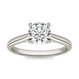 1 CTW Round Caydia Lab Grown Diamond Cathedral Four Prong Solitaire Engagement Ring Platinum, SIZE 7.0 Stone Color E