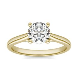 1 CTW Round Caydia Lab Grown Diamond Cathedral Four Prong Solitaire Engagement Ring 18K Yellow Gold, SIZE 7.0 Stone Color E