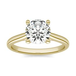 1 1/2 CTW Round Caydia Lab Grown Diamond Cathedral Four Prong Solitaire Engagement Ring 14K Yellow Gold, SIZE 7.0 Stone Color E