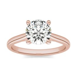 1 1/2 CTW Round Caydia Lab Grown Diamond Cathedral Four Prong Solitaire Engagement Ring 14K Rose Gold, SIZE 7.0 Stone Color E