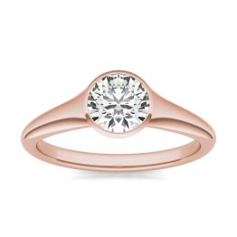 3/4 CTW Round Caydia Lab Grown Diamond Signature Tapered Bezel Solitaire Engagement Ring 18K Rose Gold, SIZE 7.0 Stone Color E
