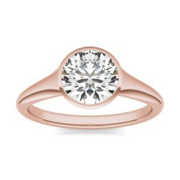 1 1/2 CTW Round Caydia Lab Grown Diamond Signature Tapered Bezel Solitaire Engagement Ring 18K Rose Gold, SIZE 7.0 Stone Color E