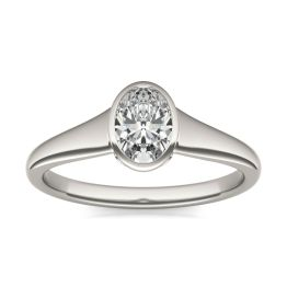 1 CTW Oval Caydia Lab Grown Diamond Signature Tapered Bezel Solitaire Engagement Ring Platinum