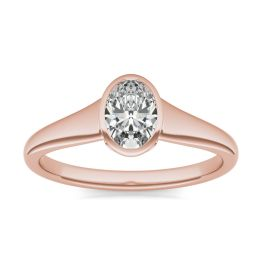 1 CTW Oval Caydia Lab Grown Diamond Signature Tapered Bezel Solitaire Engagement Ring 18K Rose Gold