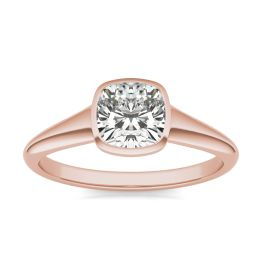 1 CTW Cushion Caydia Lab Grown Diamond Signature Tapered Bezel Solitaire Engagement Ring 18K Rose Gold, SIZE 7.0 Stone Color E