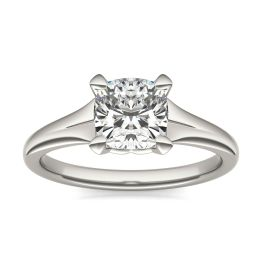 1 1/2 CTW Cushion Caydia Lab Grown Diamond Signature Tapered Solitaire Engagement Ring Platinum, SIZE 7.0 Stone Color E