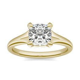 1 1/2 CTW Cushion Caydia Lab Grown Diamond Signature Tapered Solitaire Engagement Ring 18K Yellow Gold, SIZE 7.0 Stone Color E