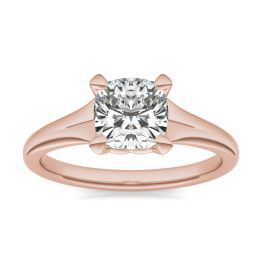 1 1/2 CTW Cushion Caydia Lab Grown Diamond Signature Tapered Solitaire Engagement Ring 18K Rose Gold, SIZE 7.0 Stone Color E