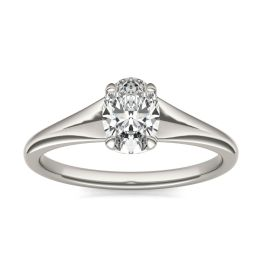 1 CTW Oval Caydia Lab Grown Diamond Signature Tapered Solitaire Engagement Ring 18K White Gold, SIZE 7.0 Stone Color E