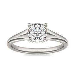 3/4 CTW Round Caydia Lab Grown Diamond Signature Tapered Solitaire Engagement Ring Platinum, SIZE 7.0 Stone Color E