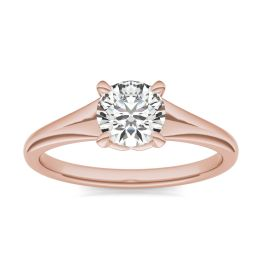3/4 CTW Round Caydia Lab Grown Diamond Signature Tapered Solitaire Engagement Ring 18K Rose Gold, SIZE 7.0 Stone Color E