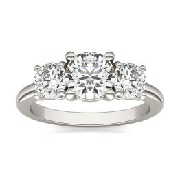 2 CTW Round Caydia Lab Grown Diamond Classic Three Stone Engagement Ring 14K White Gold, SIZE 7.0 Stone Color E