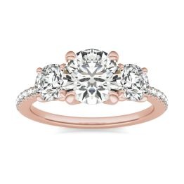 2 1/8 CTW Round Caydia Lab Grown Diamond Three Stone with Side Accents Ring 14K Rose Gold, SIZE 7.0 Stone Color E