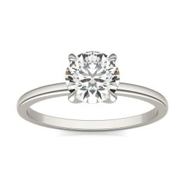 1 CTW Round Caydia Lab Grown Diamond Four Prong Claw Solitaire Engagement Ring 14K White Gold, SIZE 7.0 Stone Color E