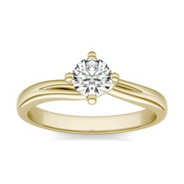 1/2 CTW Round Caydia Lab Grown Diamond Four Prong Twist Solitaire Engagement Ring 18K Yellow Gold, SIZE 7.0 Stone Color E