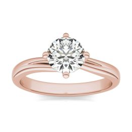 1 CTW Round Caydia Lab Grown Diamond Four Prong Twist Solitaire Engagement Ring 18K Rose Gold, SIZE 7.0 Stone Color E