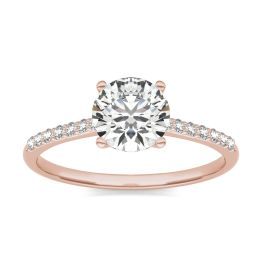 1 1/6 CTW Round Caydia Lab Grown Diamond Signature Side Stone Engagement Ring 18K Rose Gold, SIZE 7.0 Stone Color E