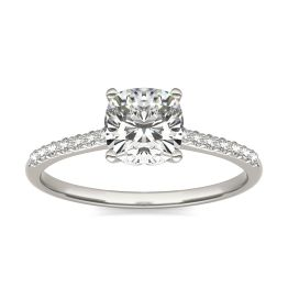 1 1/6 CTW Cushion Caydia Lab Grown Diamond Signature Side Stone Engagement Ring 18K White Gold, SIZE 7.0 Stone Color E