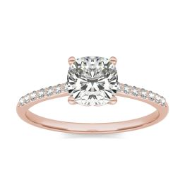1 1/6 CTW Cushion Caydia Lab Grown Diamond Signature Side Stone Engagement Ring 18K Rose Gold, SIZE 7.0 Stone Color E