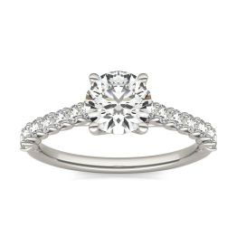 1 2/5 CTW Round Caydia Lab Grown Diamond Trellis Cathedral Engagement Ring 18K White Gold, SIZE 7.0 Stone Color E
