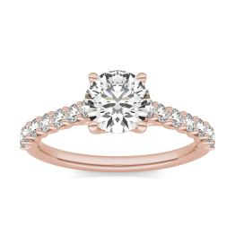 1 2/5 CTW Round Caydia Lab Grown Diamond Trellis Cathedral Engagement Ring 18K Rose Gold, SIZE 7.0 Stone Color E
