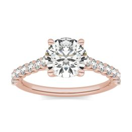 1 7/8 CTW Round Caydia Lab Grown Diamond Trellis Cathedral Engagement Ring 14K Rose Gold, SIZE 7.0 Stone Color E