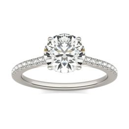 1 2/3 CTW Round Caydia Lab Grown Diamond Side Stone Engagement Ring 14K White Gold, SIZE 7.0 Stone Color E
