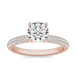 1 1/5 CTW Round Caydia Lab Grown Diamond Pave Engagement Ring 14K Rose Gold, SIZE 7.0 Stone Color E