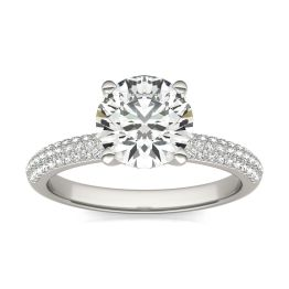 1 3/4 CTW Round Caydia Lab Grown Diamond Pave Engagement Ring 14K White Gold, SIZE 7.0 Stone Color E
