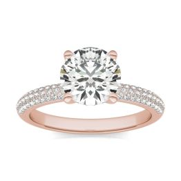 1 3/4 CTW Round Caydia Lab Grown Diamond Pave Engagement Ring 14K Rose Gold, SIZE 7.0 Stone Color E