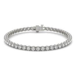 2 7/8 CTW Round Caydia Lab Grown Diamond Four Prong Tennis Bracelet 14K White Gold