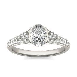1 3/8 CTW Oval Caydia Lab Grown Diamond Signature Half Bezel Pave Engagement Ring Platinum, SIZE 7.0 Stone Color E