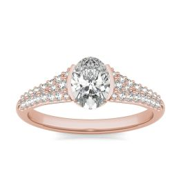 1 3/8 CTW Oval Caydia Lab Grown Diamond Signature Half Bezel Pave Engagement Ring 18K Rose Gold, SIZE 7.0 Stone Color E