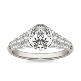 2 CTW Oval Caydia Lab Grown Diamond Signature Half Bezel Pave Engagement Ring 18K White Gold, SIZE 7.0 Stone Color E