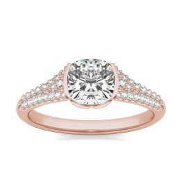 1 3/8 CTW Cushion Caydia Lab Grown Diamond Signature Half Bezel Pave Engagement Ring 18K Rose Gold, SIZE 7.0 Stone Color E