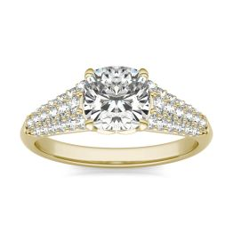 2 CTW Cushion Caydia Lab Grown Diamond Signature Multi Row Pave Engagement Ring 18K Yellow Gold, SIZE 7.0 Stone Color E