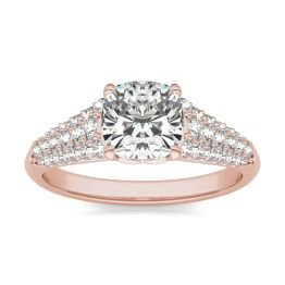 2 CTW Cushion Caydia Lab Grown Diamond Signature Multi Row Pave Engagement Ring 18K Rose Gold, SIZE 7.0 Stone Color E