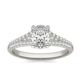 1 3/8 CTW Oval Caydia Lab Grown Diamond Signature Multi Row Pave Engagement Ring Platinum, SIZE 7.0 Stone Color E