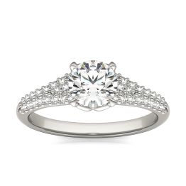 1 1/8 CTW Round Caydia Lab Grown Diamond Signature Multi Row Pave Engagement Ring 18K White Gold, SIZE 7.0 Stone Color E
