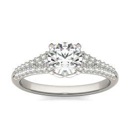 1 1/8 CTW Round Caydia Lab Grown Diamond Signature Multi Row Pave Engagement Ring Platinum, SIZE 7.0 Stone Color E