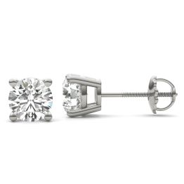 2 CTW Round Caydia Lab Grown Diamond Four Prong Solitaire Stud Screw-Back Earrings 18K White Gold
