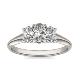 1 CTW Oval Caydia Lab Grown Diamond Three Stone Engagement Ring 14K White Gold, SIZE 7.0 Stone Color E