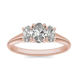1 CTW Oval Caydia Lab Grown Diamond Three Stone Engagement Ring 18K Rose Gold, SIZE 7.0 Stone Color E