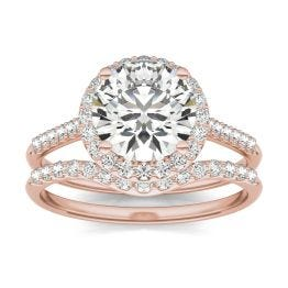 2 1/2 CTW Round Caydia Lab Grown Diamond Signature Halo Bridal Set with Side Accents Ring 18K Rose Gold, SIZE 7.0 Stone Color E