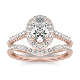 1 1/2 CTW Oval Caydia Lab Grown Diamond Signature Bridal Set with Side-Stones Ring 18K Rose Gold, SIZE 7.0 Stone Color E